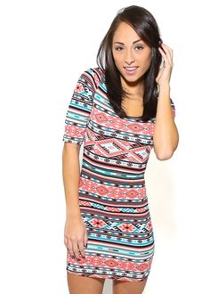 Cute Aztec Dress-Printed Cotton Dress- Tribal Bodycon Dress
