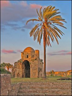 The photo is taken in the walled town of Famagusta and shows the ruins of the small late-Byzantine church Agios Nikolaos.