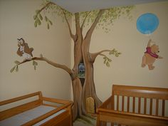 Winnie the Pooh Baby Nursery Mural-Love this!  Pooh is our theme, but I need to find this in decals because I don't want to paint!