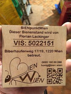 """Markierung eines Bienenstand im # happylab Wien gelasert  Beehive Tag 4x4"""" lasercut Florian, Event Ticket, 4x4"""