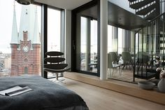 We love everything about this apartment in Stockholm: the location in the heart of the Swedish capital, panoramic windows with a view of the cathedral and ✌Pufikhomes - source of home inspiration Apartment Interior, Apartment Design, Apartment Living, Scandinavian Interior, Beautiful Interiors, Decoration, Stockholm, House Tours, Layout Design