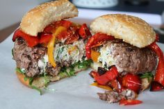 These burgers are simply delicious and filled with delicious soft feta cheese!