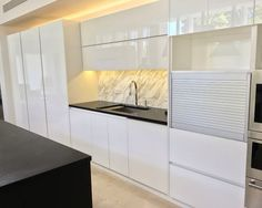 """Kitchen"" Rehau Rauvisio High Gloss Acyrlic Glass Interiors Feature by: http://noel_cruz.houzz.com/projects/1615920/rauvisio-crystal-and-fenix"
