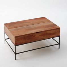 storage cube coffee table, reclaimed wood, rustic contemporary