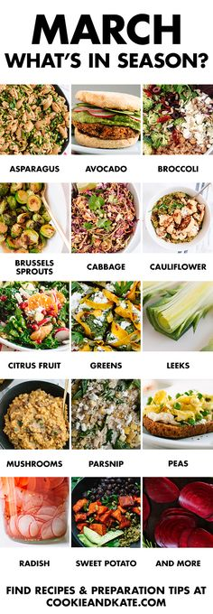 Eat seasonally with this guide to March fruits and vegetables. Find recipes and preparation tips at cookieandkate.com How To Cook Barley, Cooking Sweet Potatoes, Cooking Classes, Fruits And Vegetables, Meal Prep, Prepping, Organic Gardening, Meat, Link