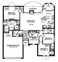Floor Plans AFLFPW20019 - 1 Story Traditional Home with 4 Bedrooms, 2 Bathrooms and 1,856 total Square Feet