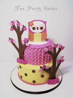 In the Woods Owl Baby Shower Cake~ 6 and 8 inch buttercream cakes with MMF and gum paste decorations.