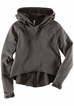 Weekend Wear! LOVE this Sweatshirt! Perfect with Leggings! Dark Grey Plain Swallowtail Long Sleeve Padded  #Grey #Swallowtail #Sweatshirt #Weekend #Fashion