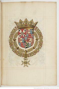 Shield and crown from 'Recueil de tous les chevaliers de l'ordre du Saint Esprit,'  1601-1700