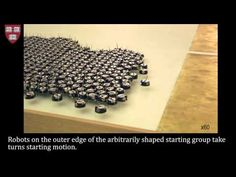 Self assembling robots. A team of researchers at Harvard has figured out how to get a swarm of 1024 tiny robots to work together and self-assemble into complex two dimensional shapes without anyone interfering.
