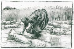 Vincent van Gogh Drawing, Black chalk Nuenen: August, 1885 Private collection F: 1275a, JH: 873 Image Only - Van Gogh: Peasant Woman, Stooping between Sheaves of Grain