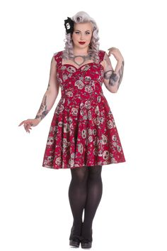 Plus Size Calavera Day of the Dead Flower Sugar Skull Red Party Dress