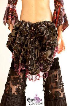 Steampunk, Gypsy Belt Bustle, Velvet Grapevine Black, Plum and Wine With Beads via Etsy