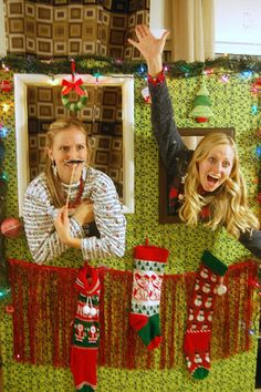 Family Ever After....: {Ugly Sweater Party Ideas} How to Build a Photo Booth Don't need plywood... could do this with cardboard and dollar store decorations!