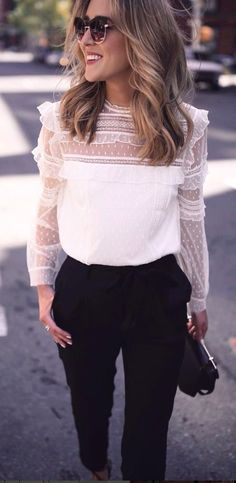 #fall #outfits  white laced long sleeves and black pants