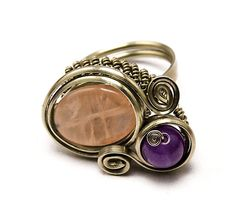 Wire Wrapped Ring with Rose Quartz and Amethyst ♥ by HyppieChic