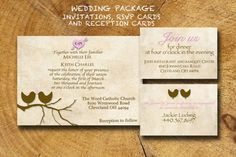 Wedding Invitation Package Birds RSVP Reception by TheLudwigShop, $29.99