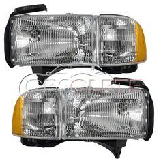 New Headlight Headlamp w/ Corner Lamp Pair Set  DOT 94-02 Dodge Pickup Truck #NewAftermarketReplacement