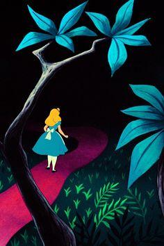 Alice following a temporary, vanishing path in the dark Tulgey Wood.