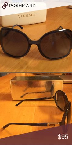 Versace Blue Sunnies Re-Poshed item.  Blue Versace shades complete with authenticity card and original box Versace Accessories Sunglasses
