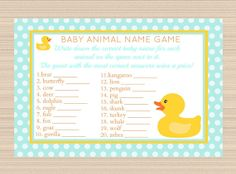 Rubber Ducky Baby Shower Digital Name Game  by PaperTreePrintables, $5.00