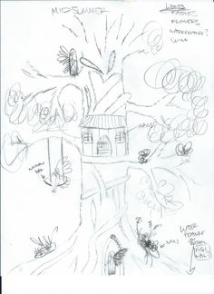 initial sketch of Mid Summer's Dream with Tree of Life and fairies