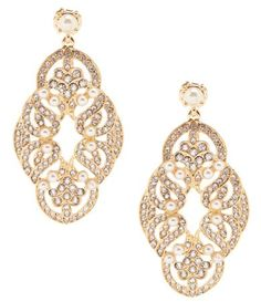 Gemma Layne Swirl Pearl Chandelier Earrings #Dillards
