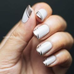 Metallic Rose Gold Angled Tips   French Nail Designs