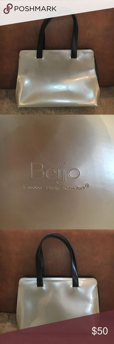 """Fantabulous Beijo Handbag 👜 Fantabulous Beijo Handbag 👜 - beautiful champagne color with black handles and trim. (15"""" across, 4.5"""" deep, 11"""" tall - not including handles) Beijo Bags"""