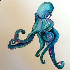Octopus III Watercolors, India ink, pen, gel pen  #artsnacks
