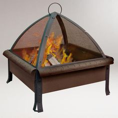 Would be great out on a cool evening for the patio/garden @ WorldMarket.com: Tudor Fire Pit, Speckled Bronze Finish