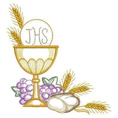 Celebrate the Eucharist with this set of inspirational designs depicting a chalice framed by golden wheat and violet grapes. Custom Embroidery, Embroidery Thread, Machine Embroidery Designs, Première Communion, First Holy Communion, Christmas Sewing, Christmas Embroidery, Communion Invitations, Church Banners