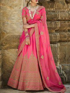 Kimora Pink Raw Silk Aline Lehenga #Lehenga #Pink #RawSilk