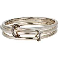 Spinelli Kilcollin Neptune Linked Bangles ($4,800) ❤ liked on Polyvore featuring jewelry, bracelets, colorless, pave bangle bracelet, bangle jewelry, clear crystal jewelry, clear jewelry and spinelli kilcollin