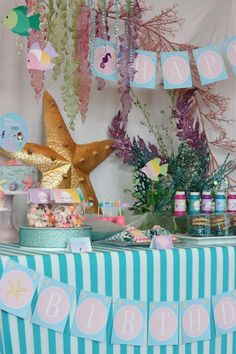 mermaid decorations for kids birthday | Whimsical Mermaid Girl Under the Sea Birthday Party Planning Ideas