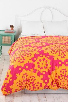 pink and orange duvet covers | orange & pink cover, mint side table