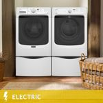 Maytag Maxima® High Efficiency 4.2CuFt Washer Maxima® X™ 7.4CuFt ELECTRIC Dryer with Pedestals in White | MHW4100DW, MED4000BW
