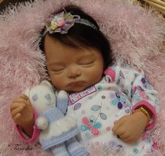 Reborn Baby girl Tanisha Jade.. Kaia kit by Joanna Gomes...5 lbs & 6 oz's...21 inches...rooted hair..Created by me..2011...