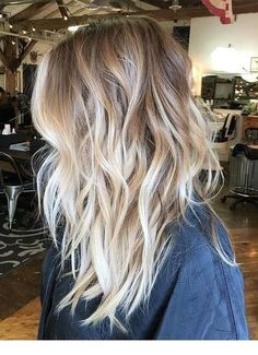 Messy Dark-Blonde Hair with Vanilla-Blonde Balayage and Chunky, Wavy Layers - hair - Hair Color Ombre Hair Color, Hair Color Balayage, Balayage Hairstyle, Blonde Color, Ombre Balayage, Bright Blonde, Babylights Hair, Warm To Cool Blonde, Full Balayage
