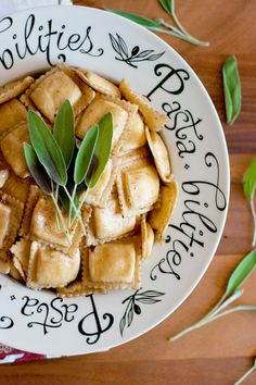 Butternut squash ravioli with balsamic browned butter