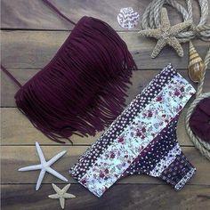Fashion floral Print Tassel beach Swimwear Swimsuit Bikini – Love Fashion