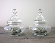 Glass Apothecary Jars Set of Two by 22BayRoad on Etsy