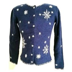 Sparkly Winter Wonderland Sweater😀HP😀 Dark blue button up sweater.  Beautiful mother-of-pearl buttons, white snowflake and star pattern has silver thread and bead detailing.  White stitching along boarders.  Waist length with long sleeves.  Runs larger as it just fits me and I am usually a small/medium size 6/8. Orvis Sweaters Cardigans