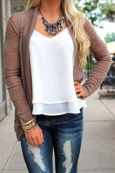 Crochet Knit Cardigan | uoionline.com: Women's Clothing Boutique