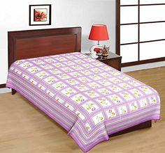 Odishabazaar Sanganeri Printed Cotton Single Bedsheet Bedcover in Purple Color Odishabazaar http://www.amazon.com/dp/B01CDYL02M/ref=cm_sw_r_pi_dp_e3S1wb1M2FX5V