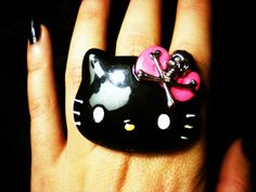 Black Hello Kitty Ring with Skull