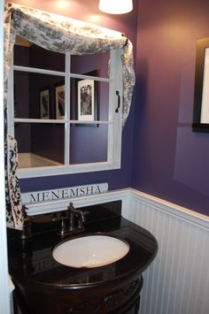 Eggplant Bathroom, I had a boring half bath with a floral wallpaper border, pedestal sink and over the toilet cabinet that I hated.  The loo...