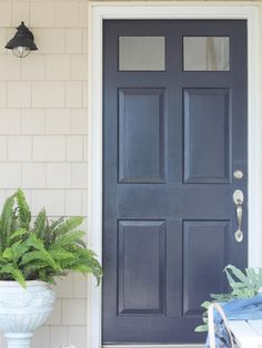 New Front Door Color-Sherwin Williams Anchors Aweigh - City Farmhouse Best Front Door Colors, Best Front Doors, Front Door Paint Colors, Painted Front Doors, Navy Front Doors, Metal Doors, Exterior Door Colors, Exterior Front Doors, House Paint Exterior