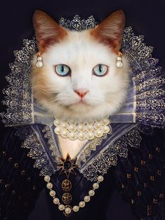 Custom Royal Portraits of you, your family and pets by MichaPortraits Photo Portrait, Portrait Images, Pet Portraits, Portrait Renaissance, Animal Dress Up, Fancy Cats, Cat People, Animal Heads, Jolie Photo