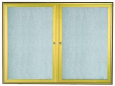 OWFC3648G. Enclosed Bulletin Board with Aluminum Waterfall Style Frame. Frame is Gold. Back Panel is Neutral Burlap Weave Vinyl. 36″Hx48″W. Two  Door